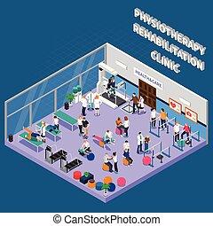 fysiotherapie, rehabilitatie, kliniek, interieur, samenstelling