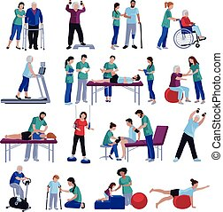 fysiotherapie, rehabilitatie, mensen, plat, iconen, verzameling