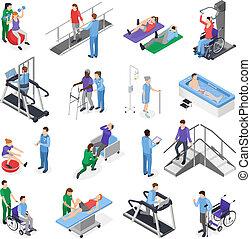 fysiotherapie, set, isometric, rehabilitatie