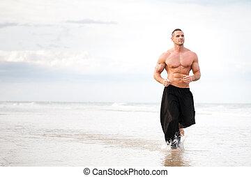 fysisch, rennende , strand, passen, man