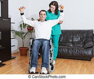 fysisk terapeut, arbejder, hos, patient