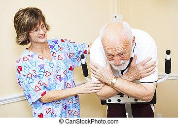 fysisk terapeut, arbejder, hos, senior