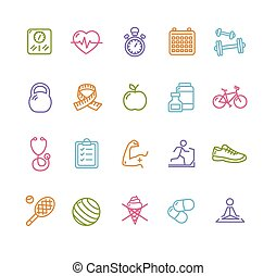 Fytness Health Colorful Outline Icon Set. Vector