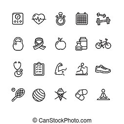 Fytness Health Outline Icon Set. Vector