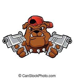 gángster, bulldog, pistolas