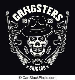 gángster, cráneo, con, dos, ametralladoras, en, negro