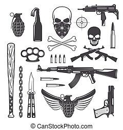 gángster, elementos, conjunto, monocromo