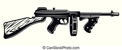gángster, monocromo, fusil submachine, ilustración