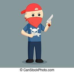 gángster, pistola, wield, dual