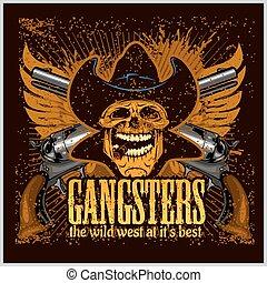 gángster, pistolas, sombrero, cráneo, vaquero
