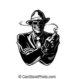 gángster, skull., eps, vector, diseño, 10