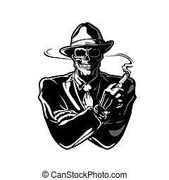 gángster, skull.vector, diseño, eps, 10