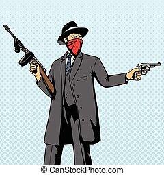 gángster, vector, robo, taponazo, arma de fuego, arte