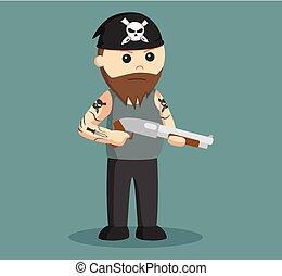 gángster, wield, escopeta