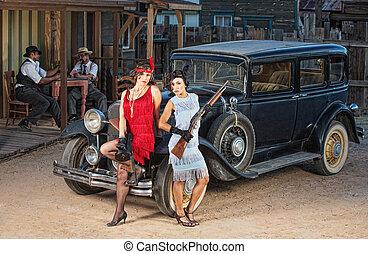 gángsteres, viejo, grupo, coche