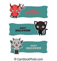 gárgola, lindo, monstruo, halloween, -, negro, diablo, gato...