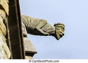 gárgola, mirepoix., cathedral., medieval, sculture