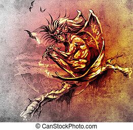 gárgola, tatuaje, bosquejo, monstruo, sentado, árbol, arte