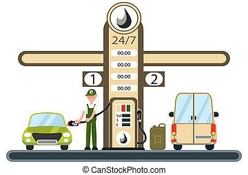 gás, car, enchimento, trabalhador, station.