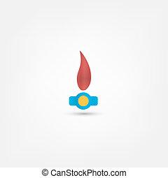 gás, chama, ícone