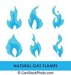 gás, desenho, natural