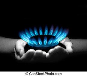 gás, em, mãos