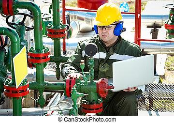 gás, indústria, trabalhador óleo