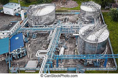 gás, industrial, aéreo, óleo, vista