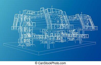 gás, industrial, equipment., wire-frame, óleo
