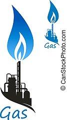 gás, industrial, natural, fábrica, chama