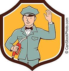 gás, jóquei, caricatura, waving, escudo, assistente