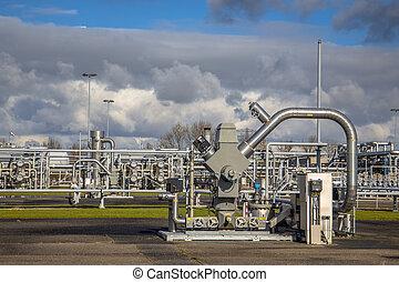 gás natural, poço, com, tubagem
