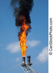 gás, queimadura, ou, chama, queimadura, em, offshore