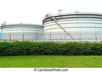 gás, tanques, em, a, propriedade industrial, suspensão,...