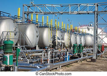 gás, tanques, para, planta petrochemical