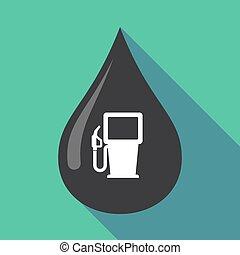 gáz, olaj letesz, hosszú, állomás, árnyék