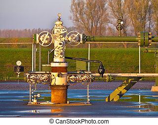 gáz, wellhead, természetes, termelés