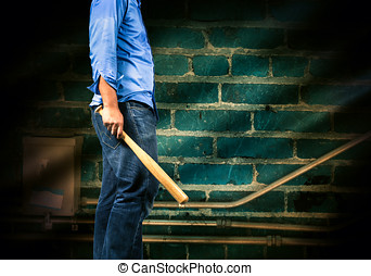 gângster, homem, com, um, bastão baseball
