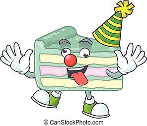gâteau, amuser, couper, dessin animé, mascotte, vanille, caractère, style, clown