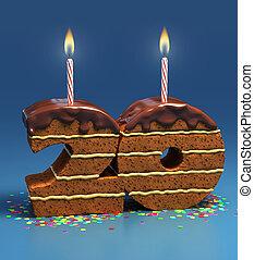 gâteau, anniversaire, 20, nombre, formé