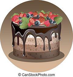 gâteau, anniversaire, baie