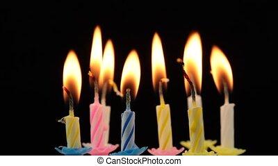 gâteau, anniversaire, candles.
