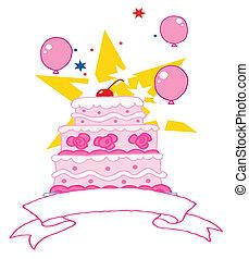 gâteau anniversaire, cerise, rose