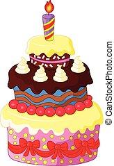 gâteau, anniversaire, dessin animé