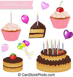 gâteau, anniversaire, ensemble