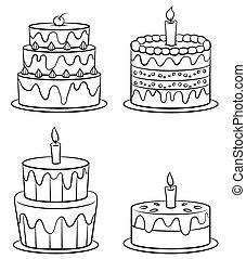 gâteau, anniversaire, ensemble, collection