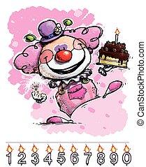 gâteau, anniversaire, fille, porter, clown