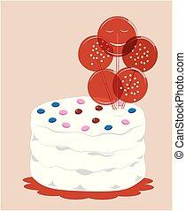 gâteau, anniversaire, heureux