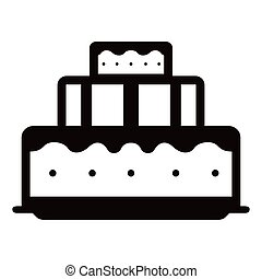 gâteau, anniversaire, icône