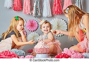gâteau, anniversaire, manger, gosse, premier